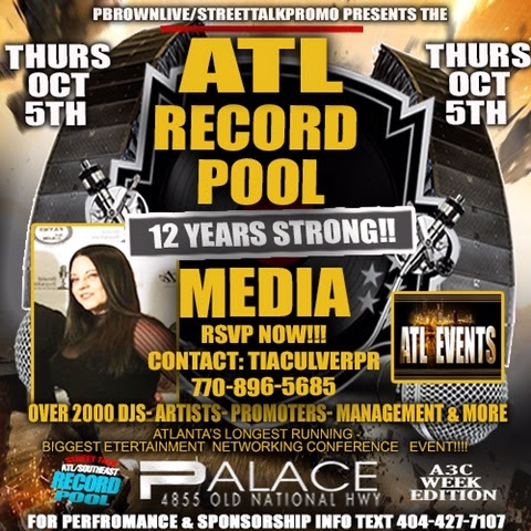 Oct 5th Greg Street Hosts ATL RECORD POOL A3C Week Edition (Media RSVP)