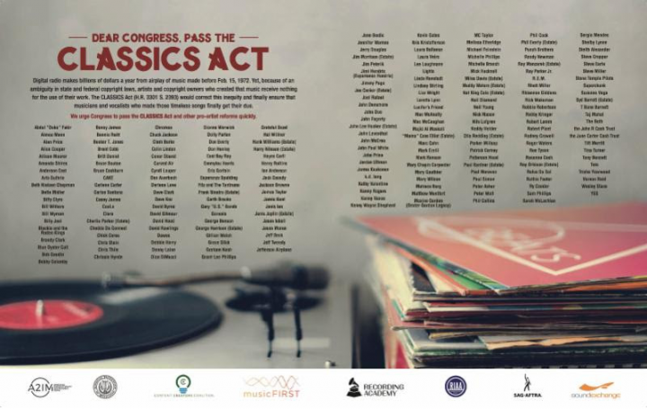 "Historic Coalition of 213 Musical Artists Calls on Congress to Pass CLASSICS Act to Fix the ""Pre-1972"" Loophole for Legacy Artists"