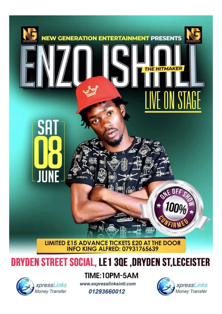 ENZO ISHALL UK Performance, Leicester, Saturday, 8th June 2019.