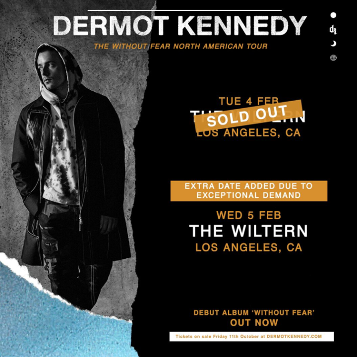 DERMOT KENNEDY ADDS SECOND SHOW AT LOS ANGELES' THE WILTERN ON FEBRUARY 5TH !