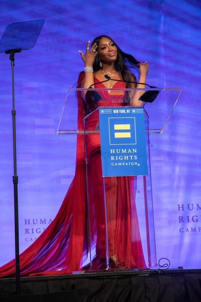 Naomi Campbell Accepts Global Advocacy Award at The 2020 Human Right Campaign Gala
